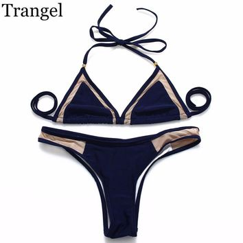 Trangel Strappy Push Up Mesh Bikini Brazilian Swimsuits Swimwear Women 2016 Sexy Bathing Suit Halter Strapless Biquinis Monokini