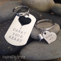 Personalized couples Keychains, His & Hers jewelry, hand stamped keyrings, military tag, love, dog tag, valentines