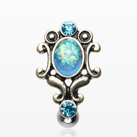 Vintage Victorian Opal Hinged Reverse Belly Button Ring