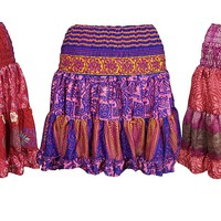Mogul Interior Womens Gypsy Skirt Recycled colorful Silk Tiered Festival Skirts Wholesale Set Of 3