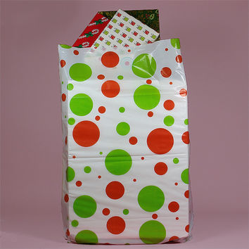 Green Red Holiday Dots 25pk JUMBO Plastic Gift Favor Holiday Party Bags