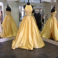 A Line Halter Yellow Simple Ball Gown Long Prom Dress