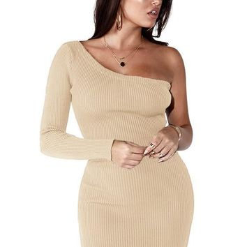 Beige Asymmetric Shoulder Draped Irregular Long Sleeve Mini Dress