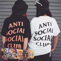 """Anti Social Socail Club"" Fashion Classic Women Men Loose Letter Print Skateboard Short Sleeve T-Shirt Top"