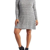 PLUS SIZE LONG SLEEVE RIBBED & MARLED SHIFT DRESS