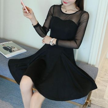 New fall stitching waist gauze perspective sexy long-sleeved dress big swing