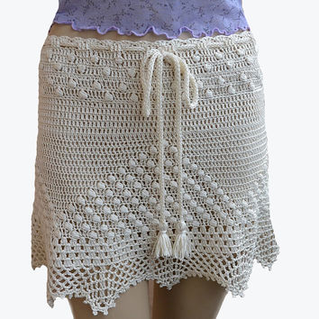 Ecri cream crocheted skirt  handmade beach crochet summer women knits romantic feminine
