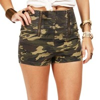Camo Double Zip High Waist Shorts