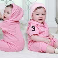 Hooded Baby Girls Rompers Shortalls Polo Toddler Romper 100% Cotton new born baby girls infant-clothing jumpsuit