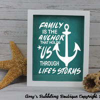 Family Shadow Box Gift - Typography Quotation Inspirational Glitter Wall Art Display Case Keepsake Valentine's Day Christmas Gift