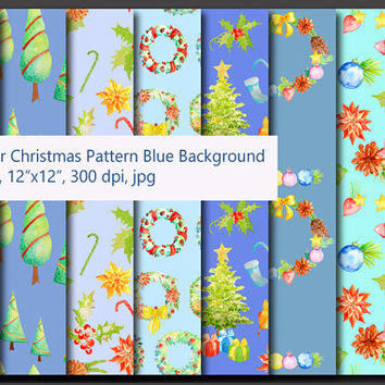 Watercolor Christmas pattern blue theme digital background instant download