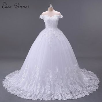 C.V Arabic Luxury Lace Ball Gown Short Sleeve Wedding Dress 2018 Gelinlik Sheer Back Princess Illusion Bridal Gown W0032