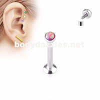 Pink Opal  Flat Top Internally Threaded Surgical Steel Labret Stud for Lip, Chin, Ear Cartilage Piercings