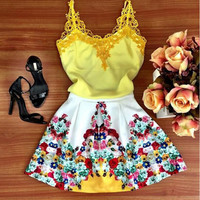 Casual Floral Lace Strap Backless Dress