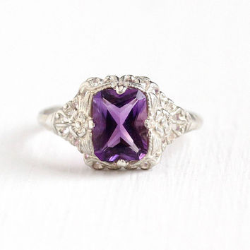 Vintage Sterling Silver Art Deco 1.5 Carat Amethyst Ring - 1930s Size 7 1/4 Genuine Purple Gem Flower Filigree February Birthstone Jewelry