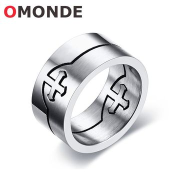 OMONDE Men's Fashion Jewelry Stainless Steel Jesus Crucifix Christian Cross Ring God Bless Lucky Rings Combination