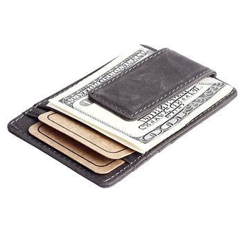 GUBINTU Leather Men Wallet Money Clip Magnet Designer Male Clutch Short Card Organizer Rfid Front Pocket I Clip -- BID067 PR49