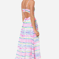 Jack by BB Dakota Jaxine Pink Striped Maxi Dress