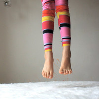 Yoga Leggings Pants with Stripes in Pinks, red, Black and Yellow for Girl sizes 6Months, 12Months, 2, 3, 4, 5, 6