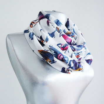 Handmade Colorful Bird Infinity Scarf - Summer Chiffon Scarf