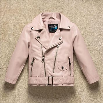 Kids Jacket 2017 Autumn Fashion Brand Design Casual Pu Leather Jackets For Girls Clothes Boys Outwear For Children Infant Coat