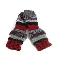 Fingerless Gloves, Knit Gloves, Texting Gloves, Red, Burgundy Gray and Black Gloves, Teens, Girls, Womens, Fiber Art
