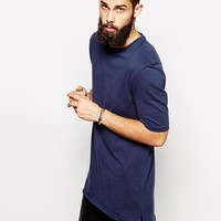 ASOS Super Longline T-Shirt With Stepped Hem Skater Fit