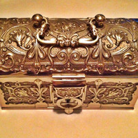 Antique Austrian Brass Treasure Chest Gold Ornate Jewelry Trinket Box Purse w/ Lock & Key