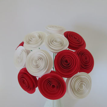 "bouquet of 12 Red & white paper roses  1.5"" Spiral Paper flower table Centerpiece Rolled paper one dozen Cardstock flowers on wire stems"