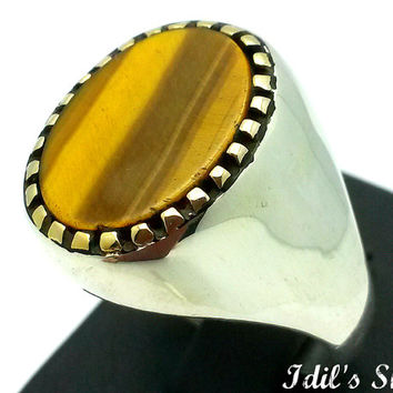 Men's Ring, Turkish Modern Style Jewelry, 925 Sterling Silver, Gift, Traditional Handmade, With Tiger Eye Stone, US Size 11, New