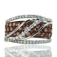 Le Vian Chocolate Diamond Ocean Wave Ring in 14K White Gold with 1.71 Carats Chocolate and White Diamonds