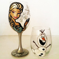 Elsa and Olaf wine glass set - frozen - 20 oz