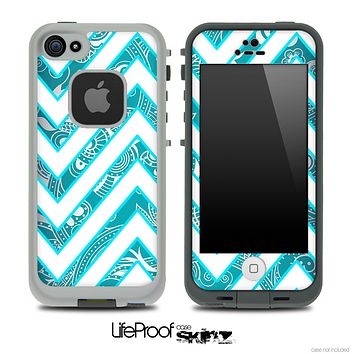 Large Chevron and Blue Paisley Skin for the iPhone 5 or 4/4s LifeProof Case