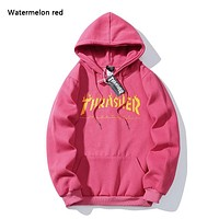 Thrasher New fashion bust flame letter print couple hooded long sleeve sweater Watermelon Red