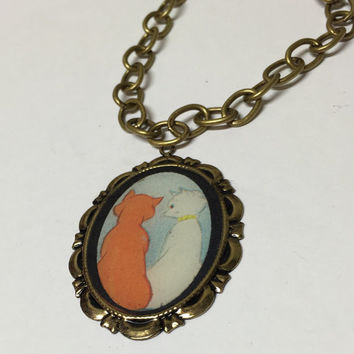 Duchess and O'Malley Cat Disney Aristocats Cameo Necklace or Brooch. Storybook Image