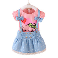 Kitty Girls Dress Dresses Kids Girls clothes Children clothing Summer 2017 Toddler girl clothing Sets Casual Fashion