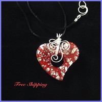 "Lampwork Red Heart / Pendant / Trending / Sterling Silver / Wire Wrapped / Boho Style / Statement Pendant / Free Shipping / Valentine""s Day"