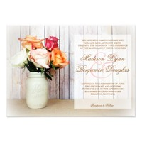 Roses in Mason Jar Rustic Country Wedding Invites