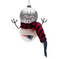 New England Patriots - Blown Glass Snowman Ornament
