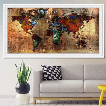 Abstract World Map, Abstract Art, Art Print, World Map Art, Large World Map, Abstract Art Print, Abstract World Map, Abstract Painting-x307