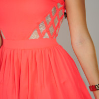 Don't Mind If I Do Dress: Neon Coral | Hope's
