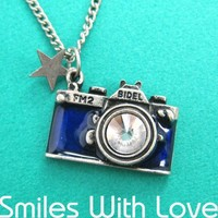 Camera Necklace in Blue with Rhinestone Lens