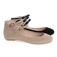Reversal12 Triple Buckle Ankle Cuff Extra Cushioned Ballet Flats