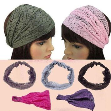 PEAPGC3 1 pc Chic Fashion Women Girls Bandanas Turban Lace Hair Head Wraps Wide Headband hairband health beauty