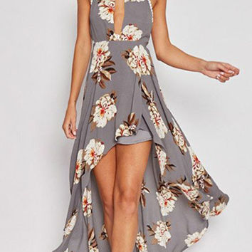 Streetstyle  Casual Fashion Keyhole Floral Print Open Back Dress