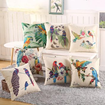 Hand Painted Linen Cushion Cover Flowers Tree Pillow Covers For Sofa Chair Seat 45x45cm Pillow Cover Home Decor Living Textile