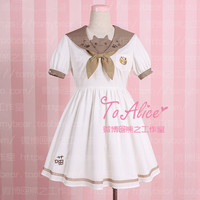 """Kindergarden Meow"" Super Cute Cat Face Paw Emrboidery Sailor Collar Dress Preppy Style Summer Short Sleeve Lolita Dress"