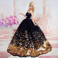 Amazing Black Dress with Lots of Gold Sequins Made to Fit for the Barbie Doll Great Children Gift Birthday Dress for Barbie doll