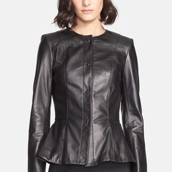 Women's St. John Collection Nappa Leather Peplum Jacket
