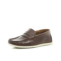 River Island Boys brown leather slip on loafers